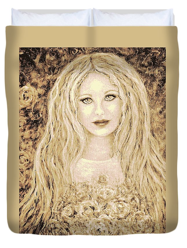 Portrait Duvet Cover featuring the painting Flowers For You by Natalie Holland