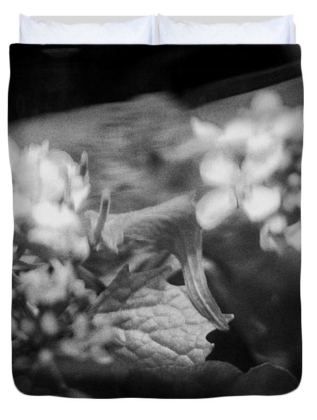 Blacj And White Duvet Cover featuring the photograph flowers in Motion by Scott Wyatt