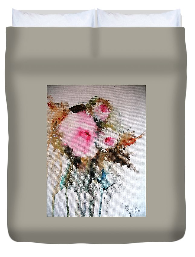 Floral Duvet Cover featuring the painting Flowers by Vesna Grundler