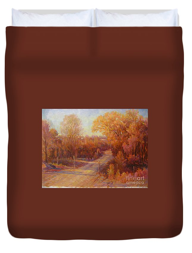 Duvet Cover featuring the painting Forest by Deliang Ma