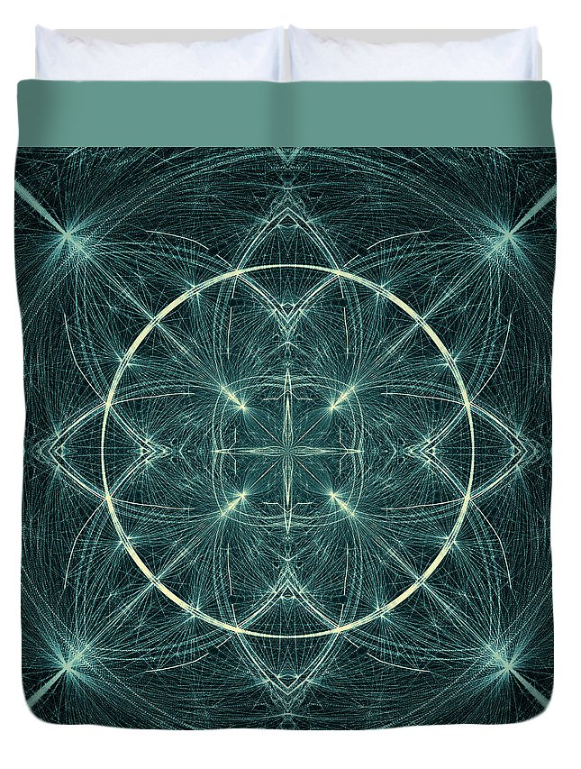 Abstract Duvet Cover featuring the digital art Fractal Fireworks by Nenad Cerovic