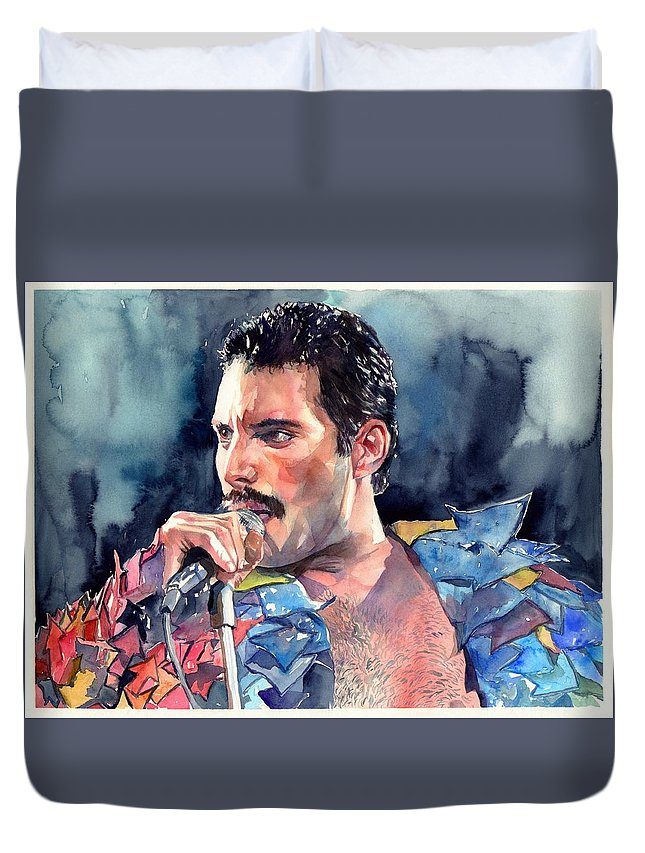 Freddie Duvet Cover featuring the painting Freddie Mercury portrait by Suzann Sines