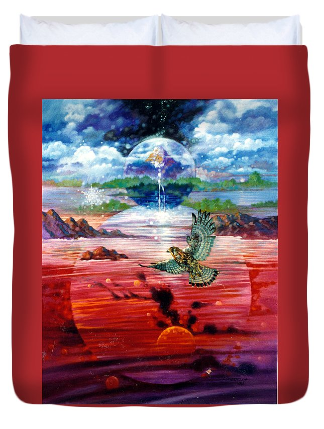 Bird Duvet Cover featuring the painting Free At Last by John Lautermilch