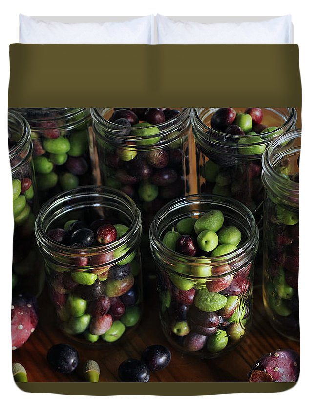 Nopales Duvet Cover featuring the photograph Fresh Harvested Olives And Tunas by Hope
