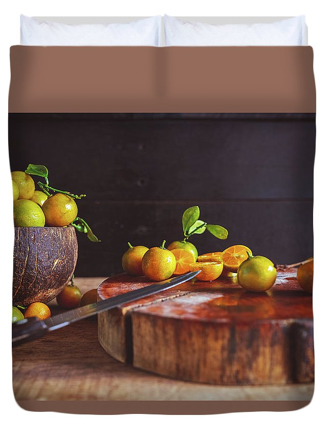 Food Duvet Cover featuring the photograph Fresh Kumquat Fruits by Thanh Thu Thai