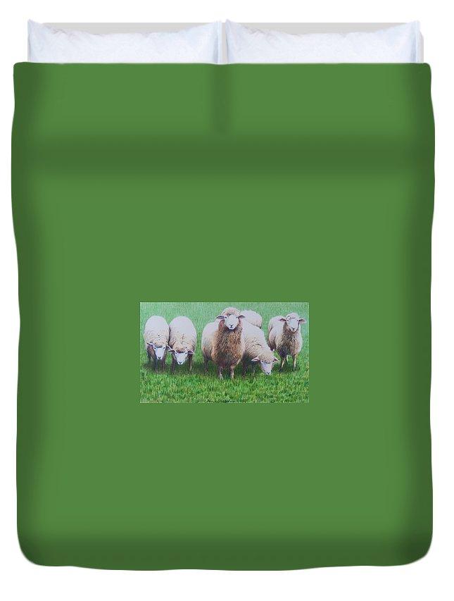 Sheep Duvet Cover featuring the mixed media Friends by Constance Drescher