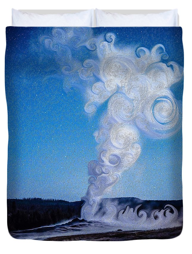 Old Faithful Duvet Cover featuring the photograph Full Moon And Old Faithful by Mikeal Beland