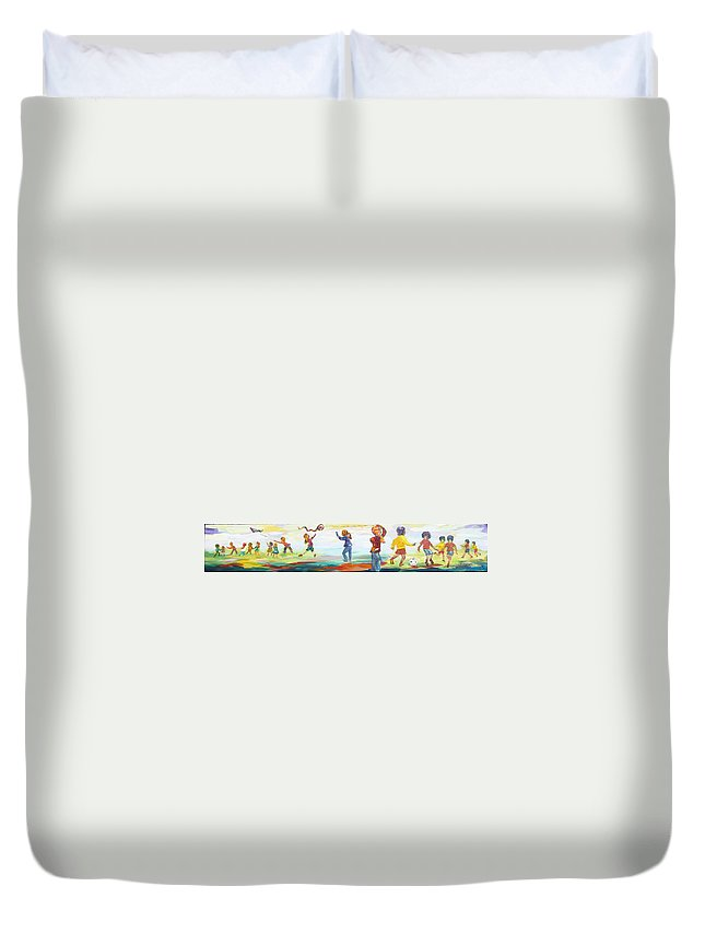 Kids Flying Kites And Playing Soccer In The Park Duvet Cover featuring the painting Fun in the Park by Naomi Gerrard