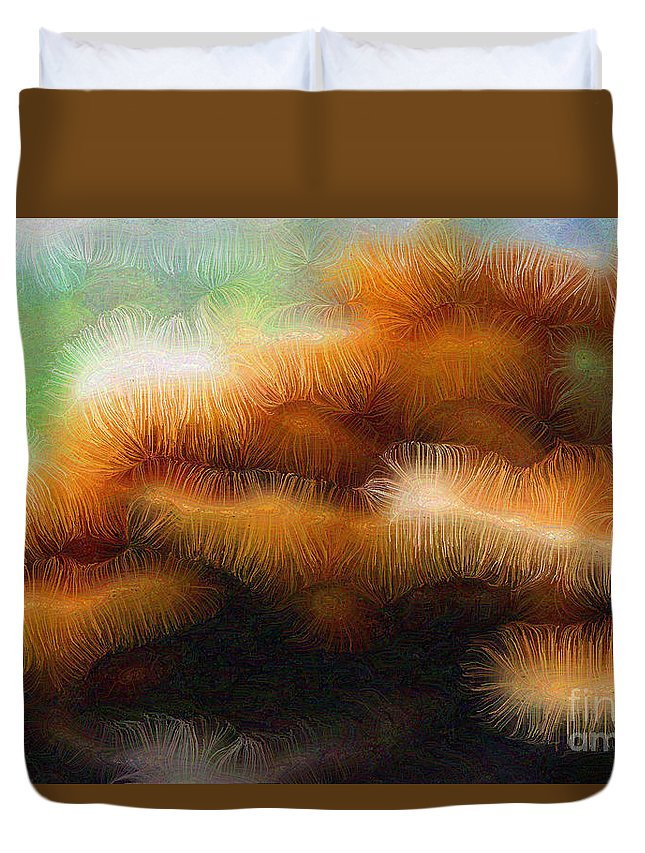 Fungus Duvet Cover featuring the digital art Fungus Tendrils by Ron Bissett