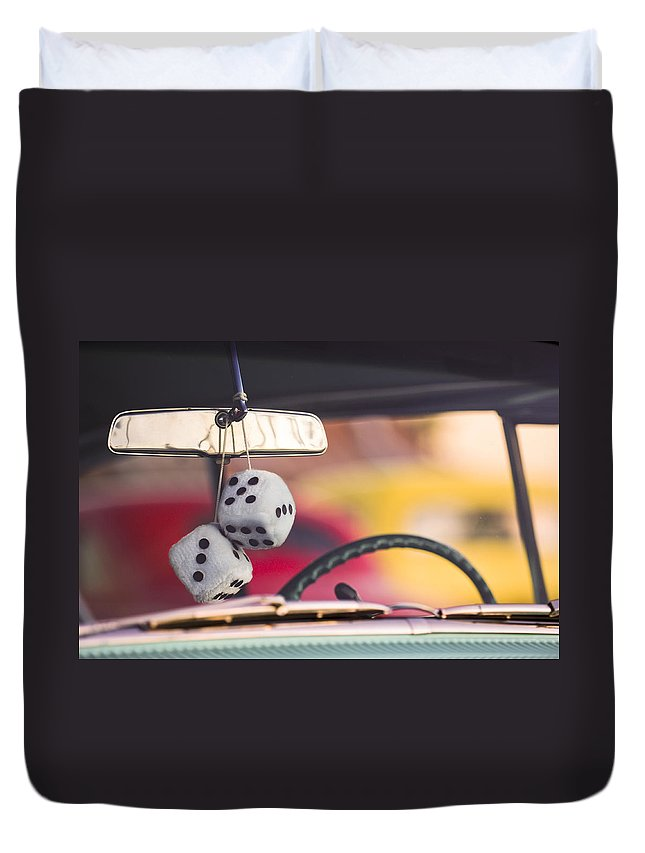 Fuzzy Dice Duvet Cover featuring the photograph Fuzzy Dice by Jill Reger