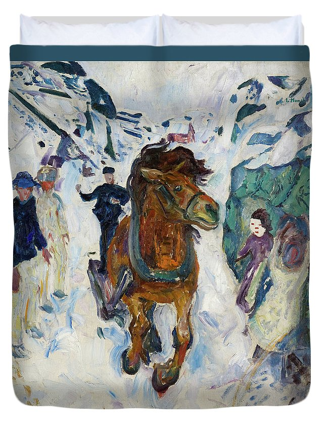 Edvard Munch Duvet Cover featuring the painting Galloping Horse by Edvard Munch