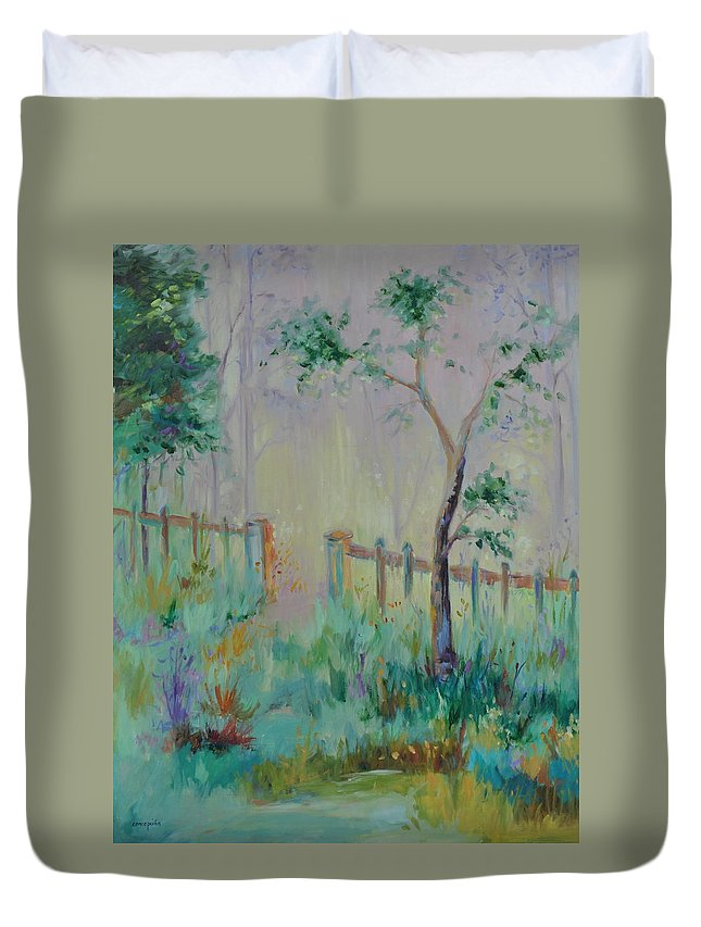 Garden Duvet Cover featuring the painting Garden and Beyond by Ginger Concepcion