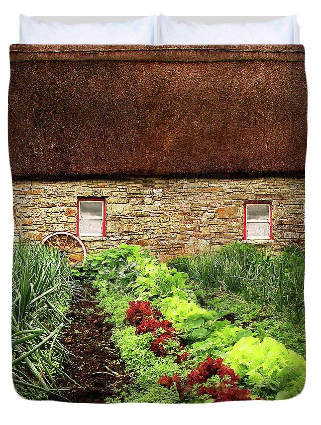 Farm Duvet Cover featuring the digital art Garden Farm by Vicki Lea Eggen