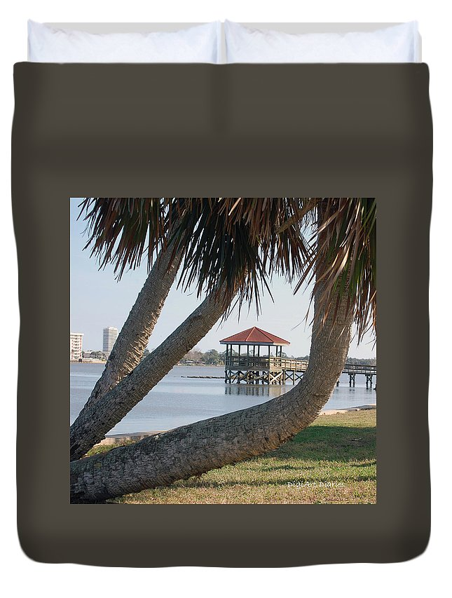 Dock Duvet Cover featuring the digital art Gazebo Dock Framed By Leaning Palms by DigiArt Diaries by Vicky B Fuller