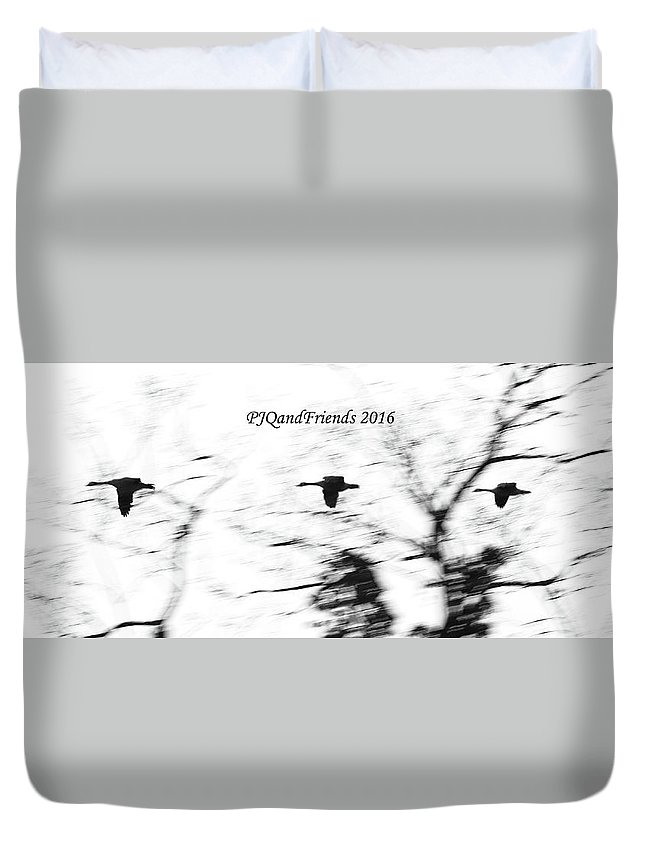 Canada Geese Duvet Cover featuring the photograph Geese Flyover by PJQandFriends Photography