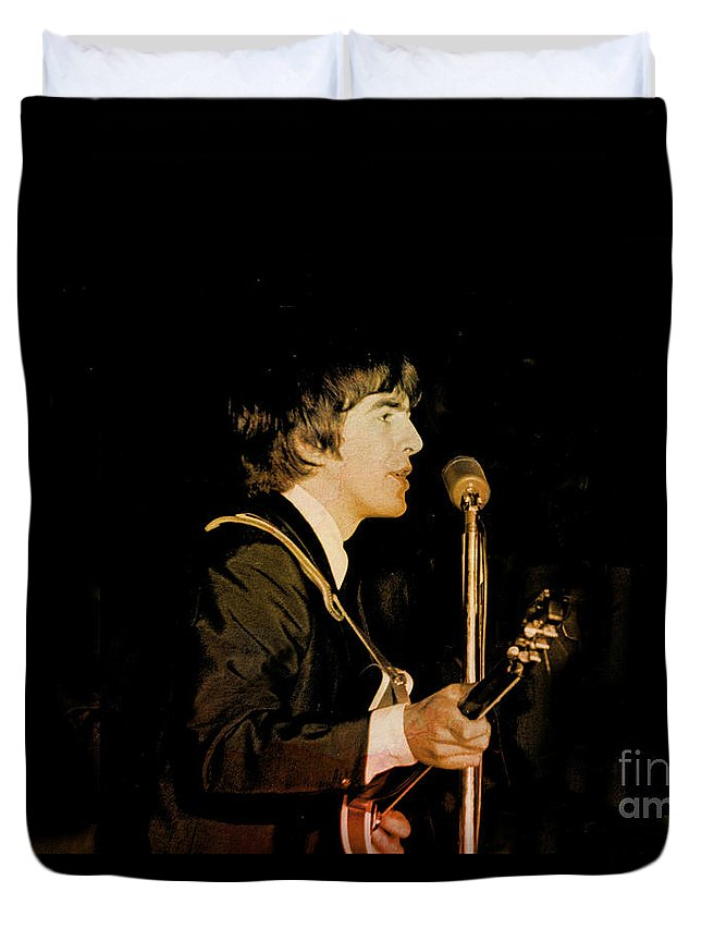 Beatles Duvet Cover featuring the photograph George Harrison by Larry Mulvehill