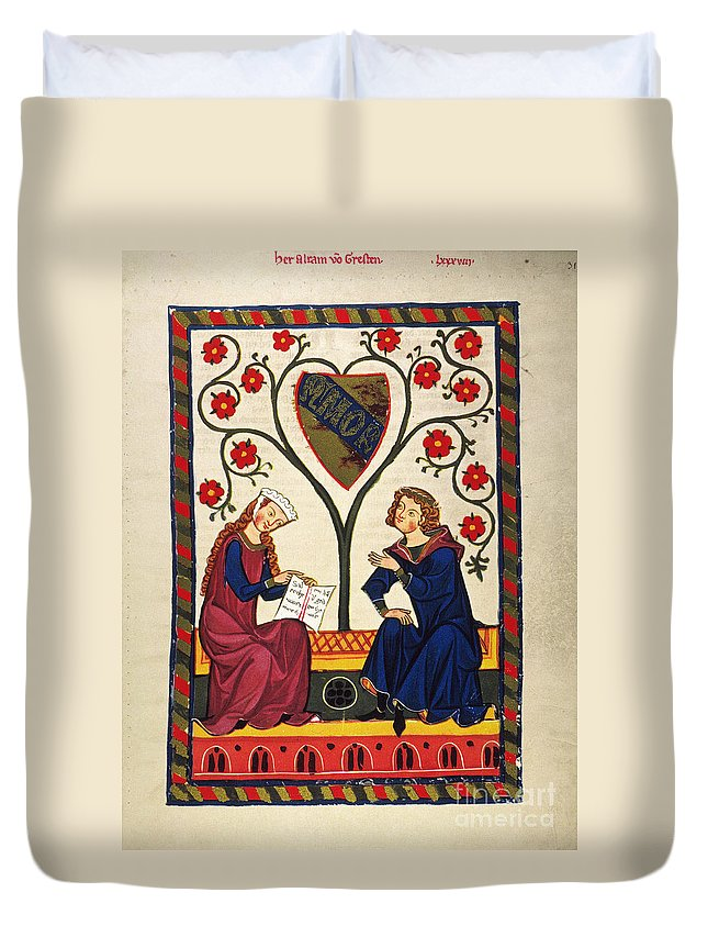 14th Century Duvet Cover featuring the photograph German Minnesinger 14th C by Granger