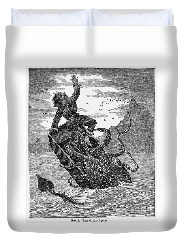 1879 Duvet Cover featuring the photograph Giant Squid, 1879 by Granger