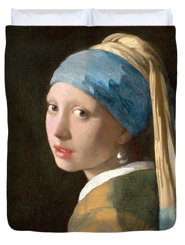Girl With A Pearl Earring Duvet Cover featuring the painting Girl With A Pearl Earring by Johannes Vermeer
