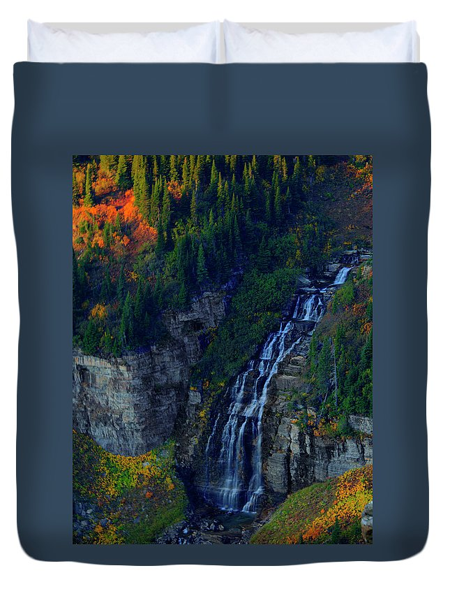 Glacier Duvet Cover featuring the photograph Glacier Waterfall by Roy Nierdieck