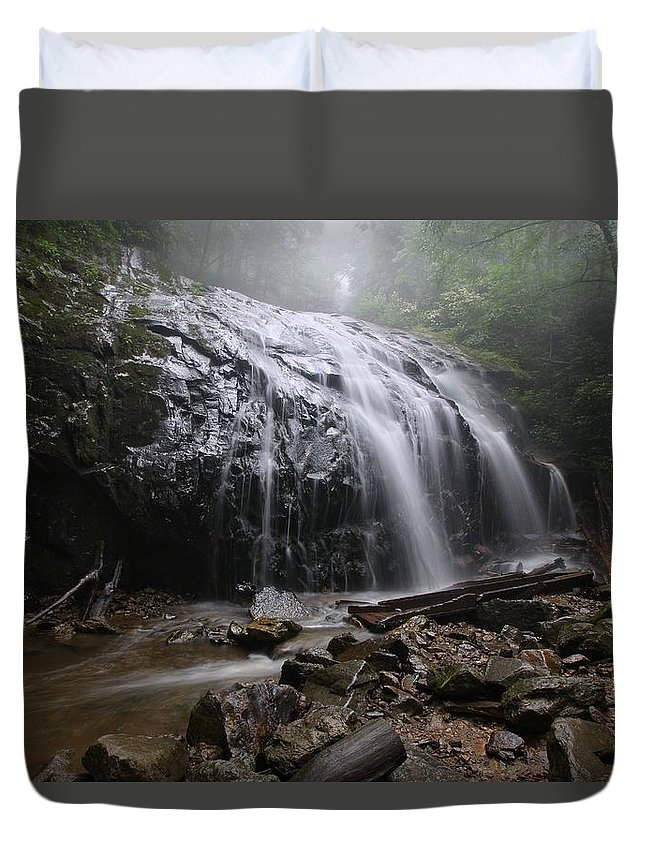 Glen Burney Falls Duvet Cover featuring the photograph Glen Burney Falls by Chris Berrier