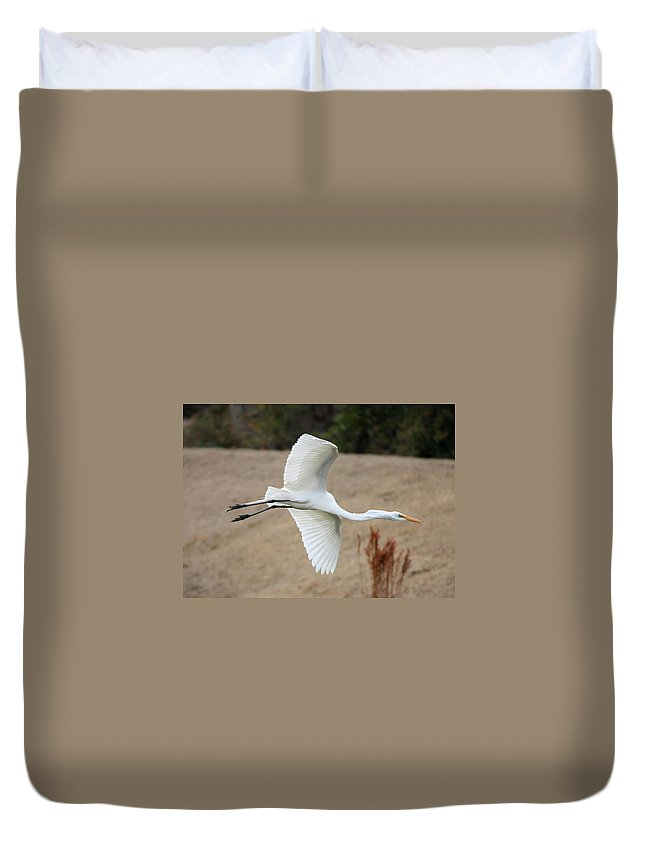 Egret Duvet Cover featuring the photograph Gliding by Carol Groenen