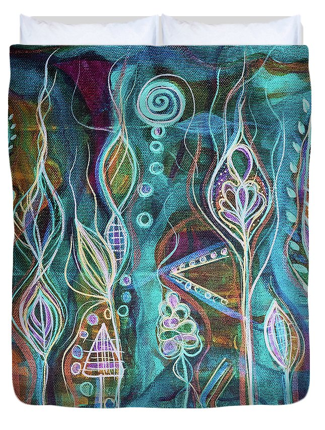 Intuitive Art Duvet Cover featuring the painting Glow by Angel Fritz