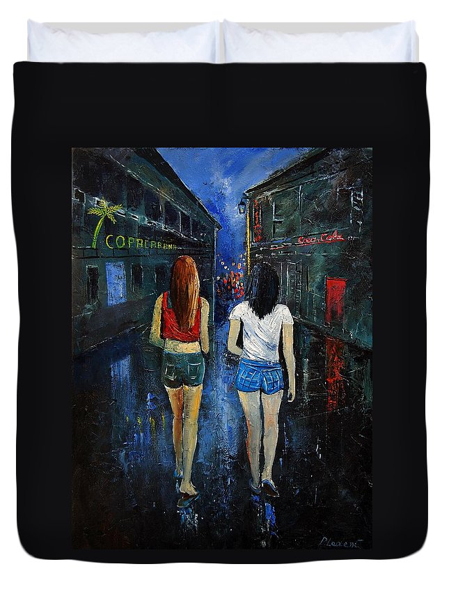 Girl Duvet Cover featuring the painting Going Out Tonight by Pol Ledent