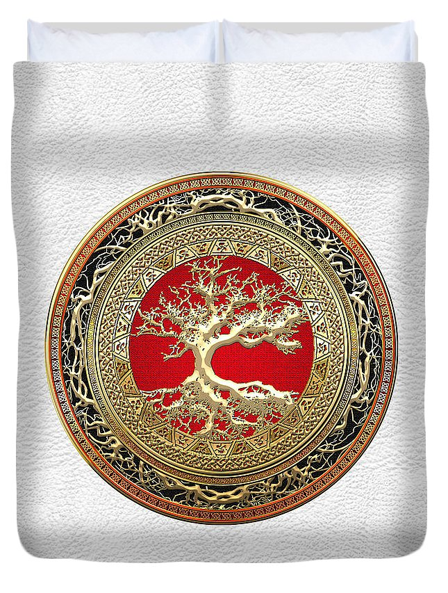 Treasure Trove By By Serge Averbukh Duvet Cover featuring the photograph Gold Celtic Tree Of Life On White Leather by Serge Averbukh