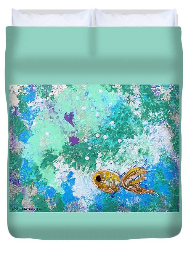 Fish Duvet Cover featuring the painting 1 Gold Fish by Gina De Gorna