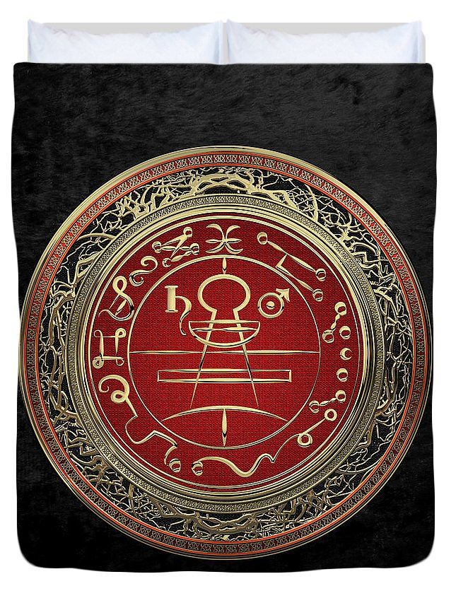 'sacred Symbols' Collection By Serge Averbukh Duvet Cover featuring the photograph Gold Seal Of Solomon - Lesser Key Of Solomon On Black Velvet by Serge Averbukh