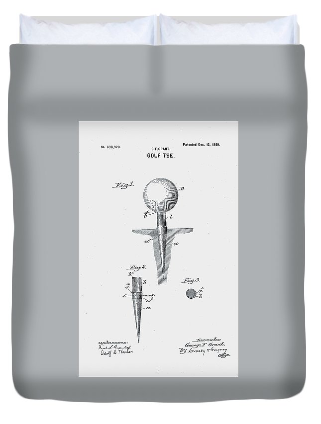 Golf Duvet Cover featuring the digital art Golf Tee Patent 1899 by Claire Doherty