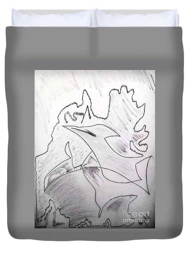 Duvet Cover featuring the drawing Goodbye Carbon by Dheeraj Abrol