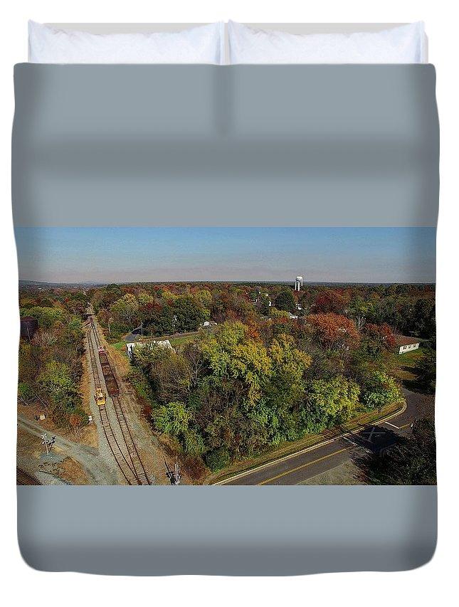 Gordonsville Virginia Duvet Cover featuring the photograph Gordonsville Virginia Tracks by Tredegar DroneWorks