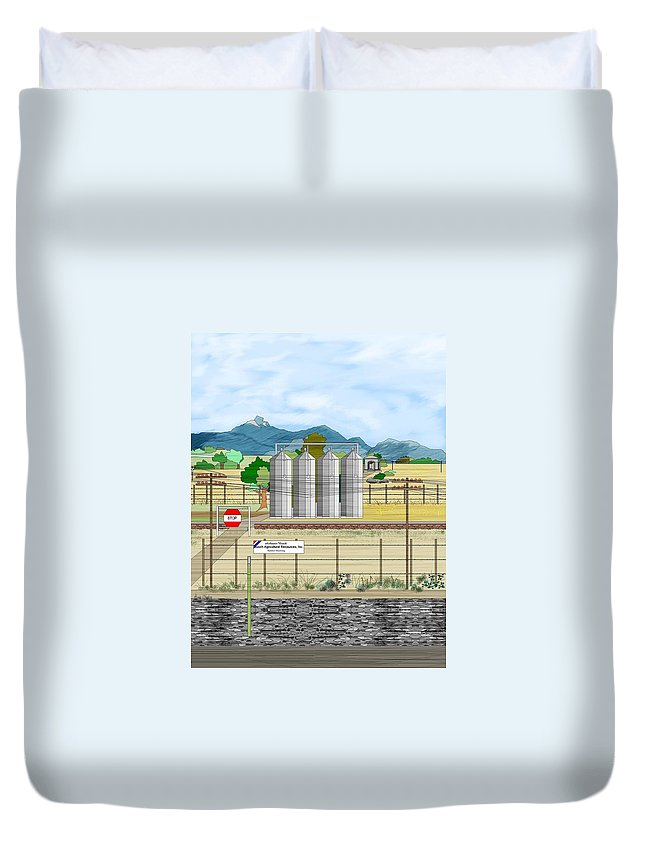 Wyoming Duvet Cover featuring the painting Grain Elevators At Ralston by Anne Norskog