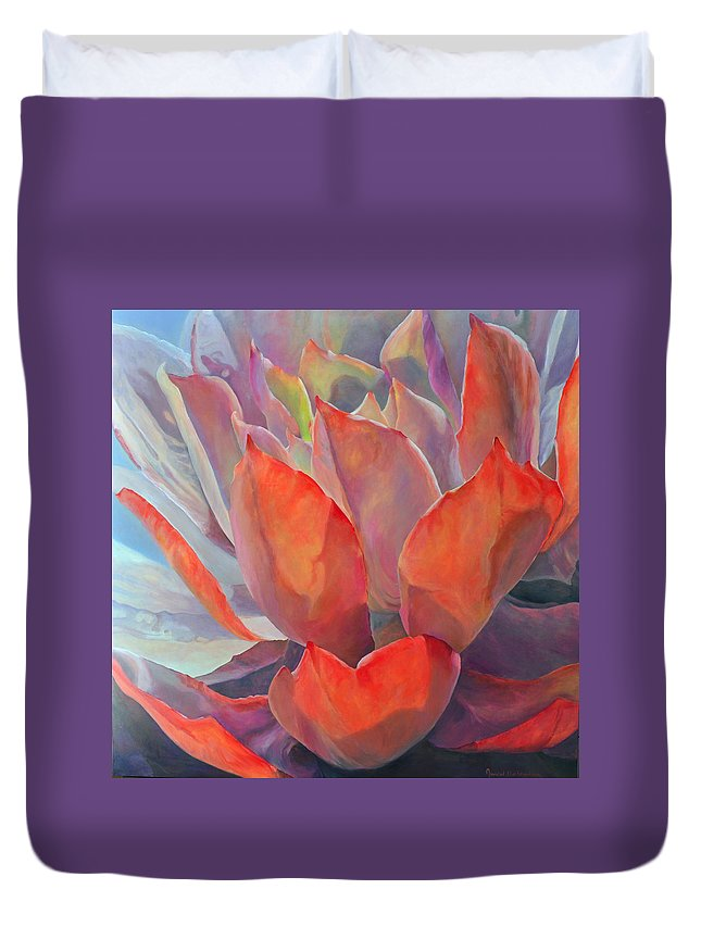 Floral Duvet Cover featuring the painting Grand Succulent by Muriel Dolemieux