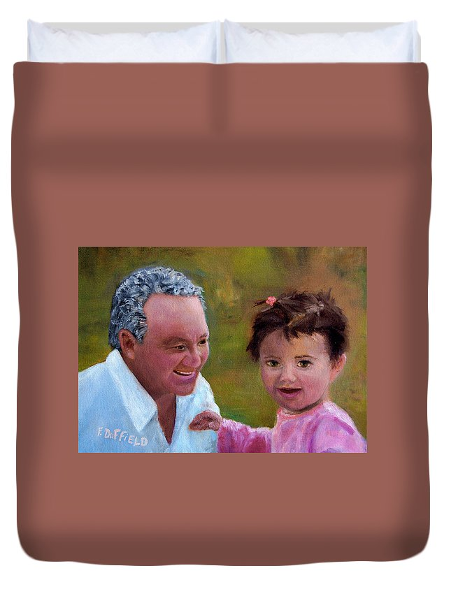 Portrait Duvet Cover featuring the painting Grandpa by Florine Duffield