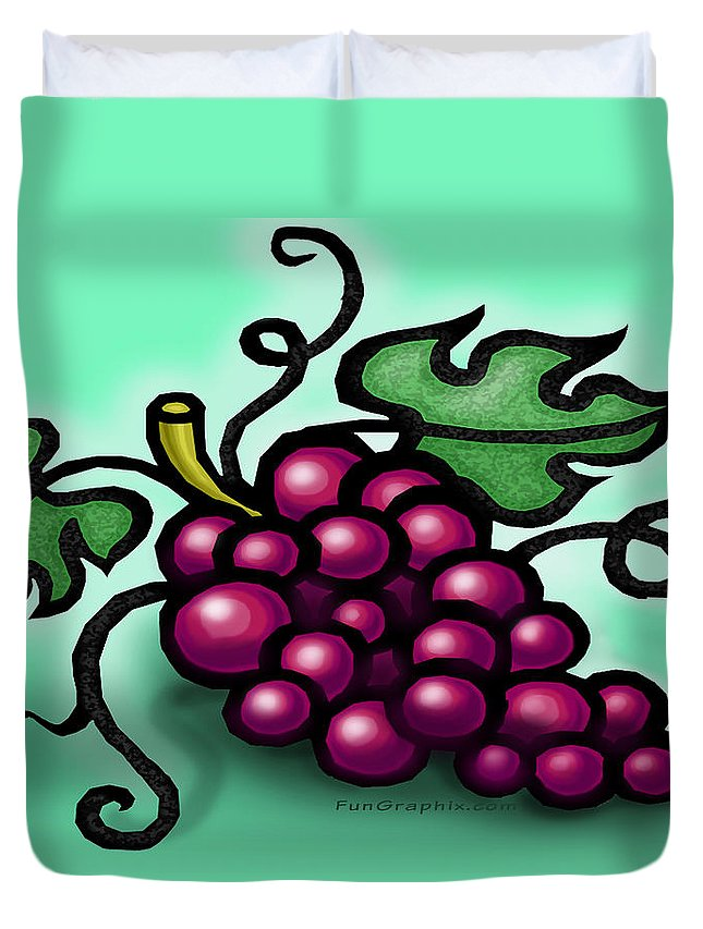 Grape Duvet Cover featuring the greeting card Grapes by Kevin Middleton