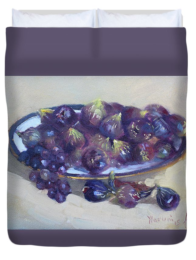 Greek Figs Duvet Cover featuring the painting Greek Figs by Ylli Haruni