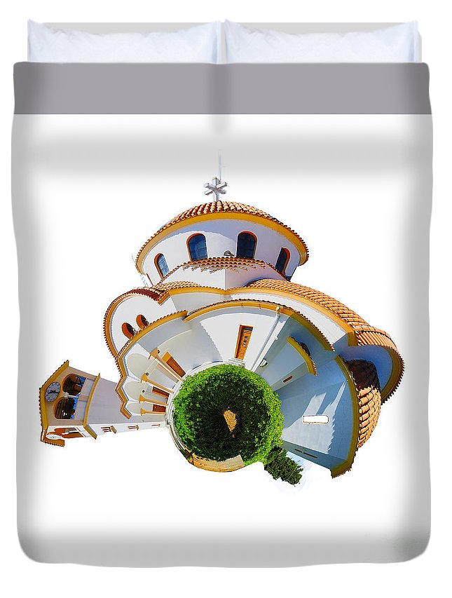 Crete Duvet Cover featuring the photograph Greek Orthodox Church by Smart Aviation