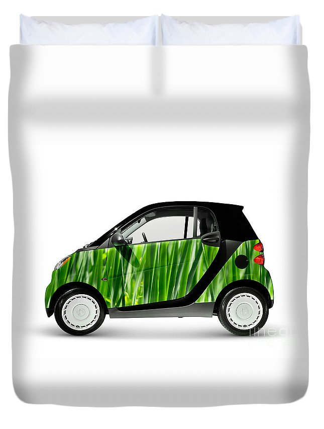 Smart Duvet Cover featuring the photograph Green Mini Car by Oleksiy Maksymenko