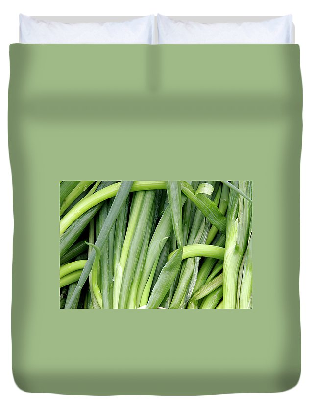 Shallots Duvet Cover featuring the photograph Green Onion Market Bergen by KG Thienemann