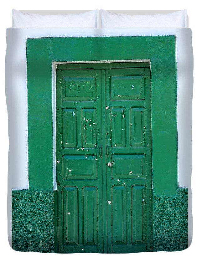 Door Duvet Cover featuring the photograph Green Wood Door by Robert Hamm