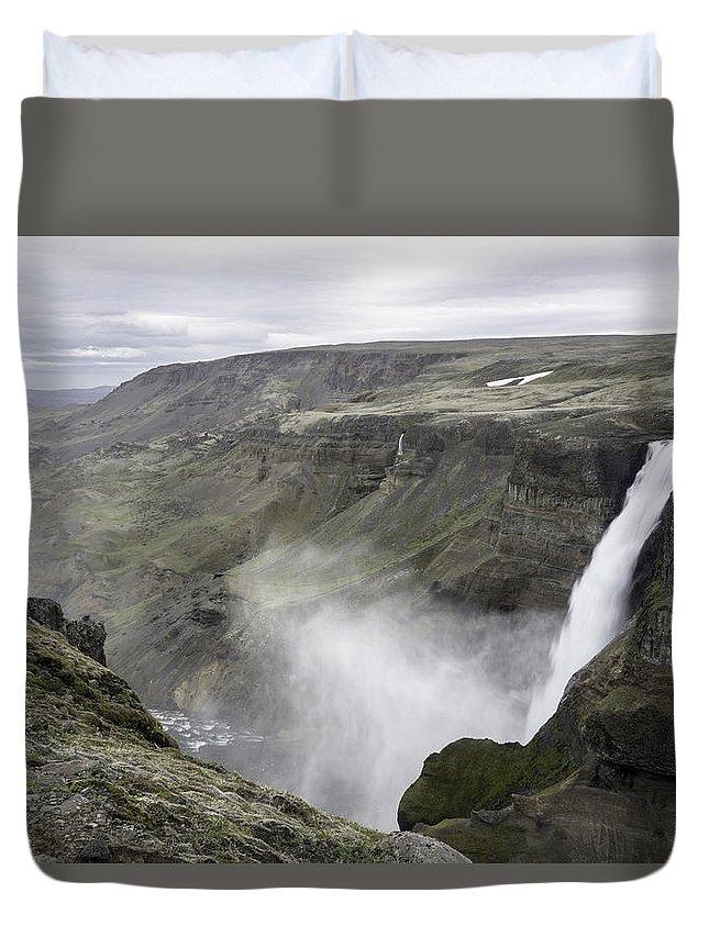 Haifoss Duvet Cover featuring the photograph Haifoss Waterfall Iceland 1340 by Bob Neiman