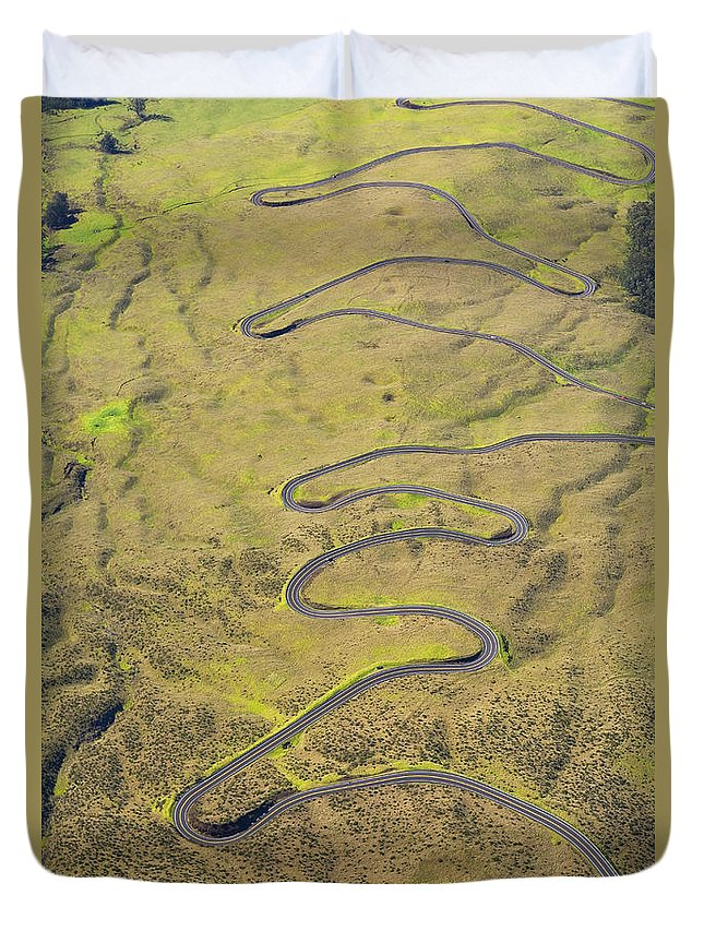 Above Duvet Cover featuring the photograph Haleakala Highway by Ron Dahlquist - Printscapes