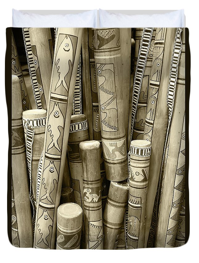 Rain Stick Duvet Cover featuring the photograph Hand Painted Rain Sticks by Robert Hamm