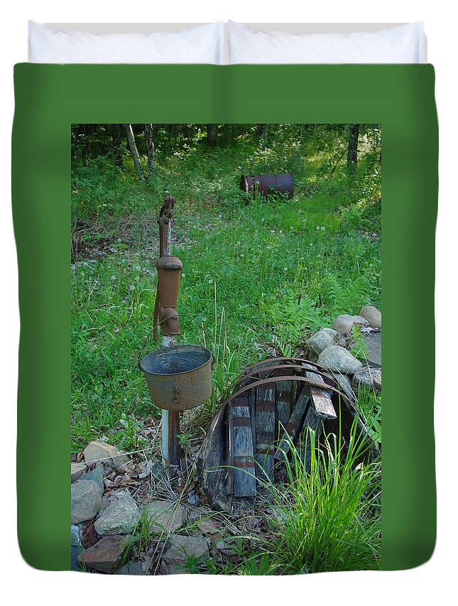 Pump Duvet Cover featuring the photograph Hand Pump In The Spring by Alice Markham