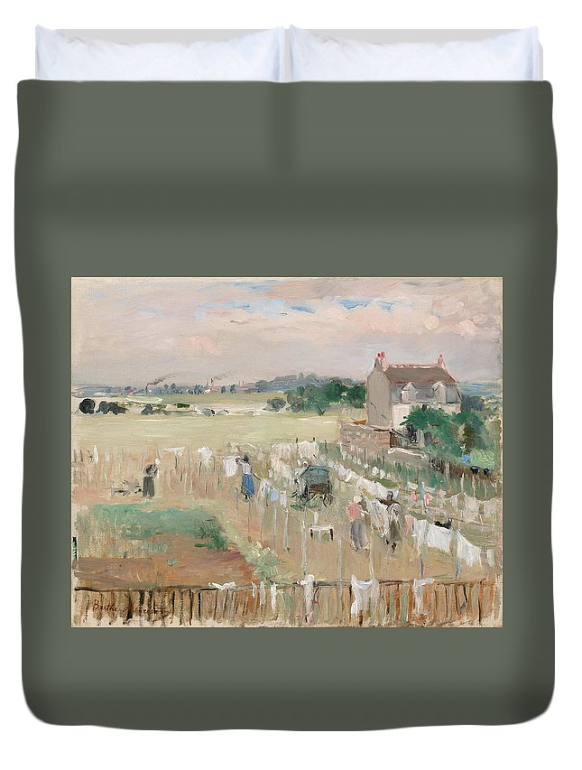 French Art Duvet Cover featuring the painting Hanging The Laundry Out To Dry by Berthe Morisot