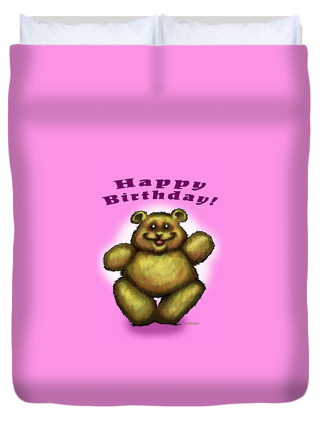 Pink Duvet Cover featuring the greeting card Happy Birthday Bear by Kevin Middleton