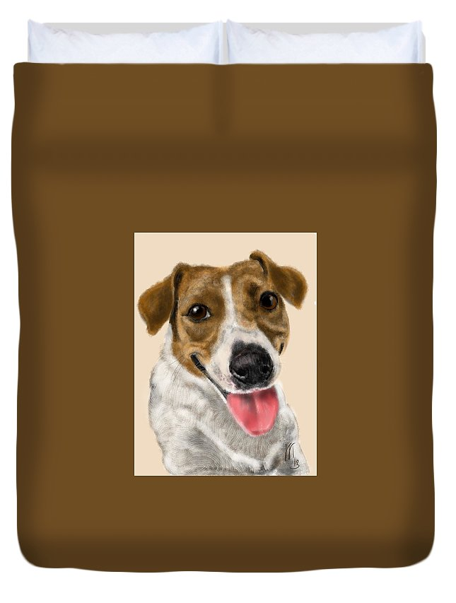 Animals Duvet Cover featuring the painting Happy Dog by Lois Ivancin Tavaf